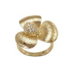 Cubic Zirconia Golden Snapdragon Flower Ring