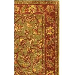 Handmade Taj Mahal Green/ Rust Wool Rug (3 x 5)