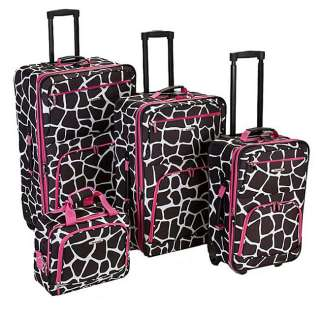 Rockland Deluxe Giraffe/Pink 4 piece Luggage Set