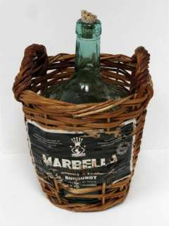 Vintage Viresa Green Glass Wine Bottle Demijohn Wicker