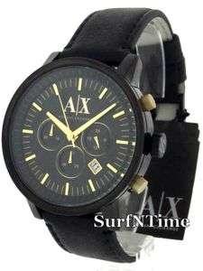 New Armani Exchange Mens Black Leather Strap Gold Chronograph Watch