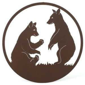 Laser cut Metal Two Bears Wildlife Wall Art, Compare at