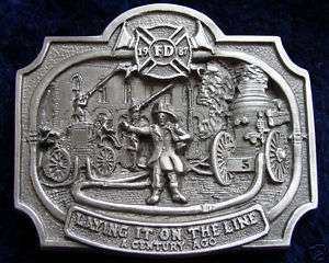Vintage Fireman Fire Fighter Belt Buckle
