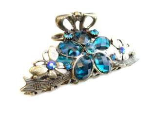 Aqua Blue Swarovski Crystal Flower Butterfly Alligator Jaw Hair Clip