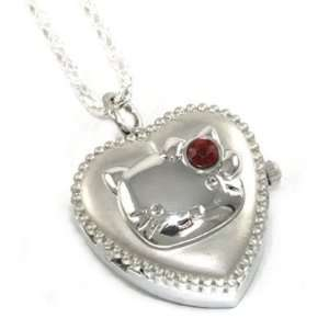 Cute Kitty Heart Locket Necklace Watch w/ red crystal accent on 23