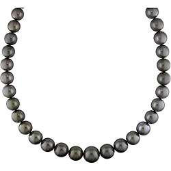 14k Gold Black Tahitian Pearl/ Diamond Necklace (11 15 mm)