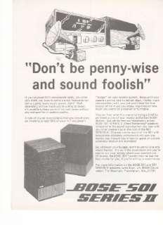 Bose 501 Series II 1974 Picture Speaker Print AD