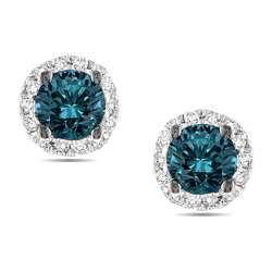 14k White Gold 1/2ct TDW Blue and White Diamond Earrings (G H, I3