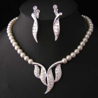 Wedding/Bridal pearl &crystal necklace earring set S226
