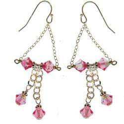 Curtis Sterling Silver Pink Crystal Bow Tie Earrings
