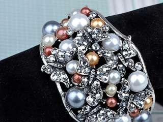Metallic Silver Crystal Rhinestone Faux Pearl Butterfly Bracelet