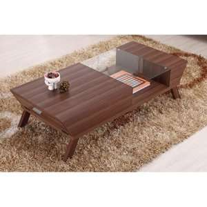 Baxter Modern Glass Top Coffee Table   Medium Wood Furniture