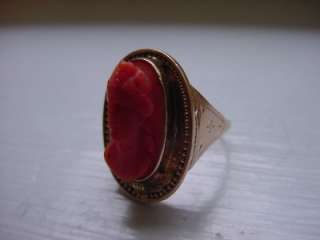 Antique Victorian Solid 14k Y. Gold Coral Cameo Ring