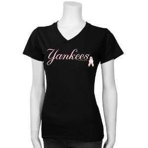 New York Yankees Black/Pink Breast Cancer Research Logo T