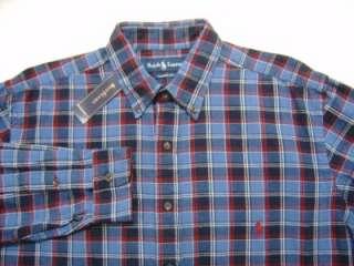 Tall Mens XLT Polo Ralph Lauren PONY Shirt Button Indigo Blue Tartan