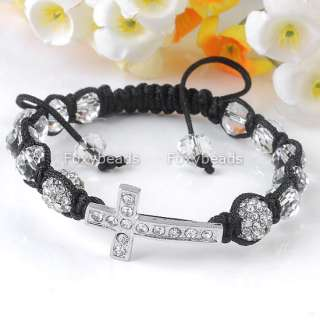 Clear Disco Ball Pave Faceted Glass Beads Macrame Bracelet