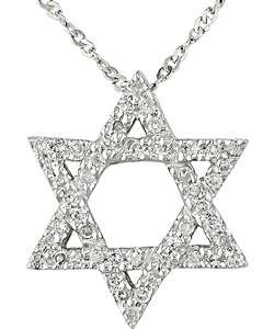 14k White Gold 1/6ct TDW Diamond Star of David Pendant
