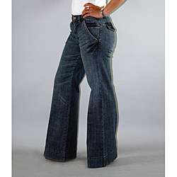 Institute Liberal Womens High Waist Medium Wash Wide leg Trousers