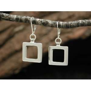 JKAT Jewelry Sterling Silver Simple Square Earrings Made