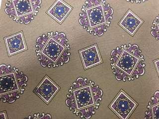 AUTH CHRISTIAN DIOR Gold Silk Geometric Necktie Tie