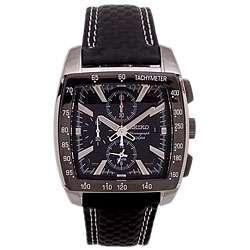 Mens Chronograph Black Dial Black Leather Strap Watch