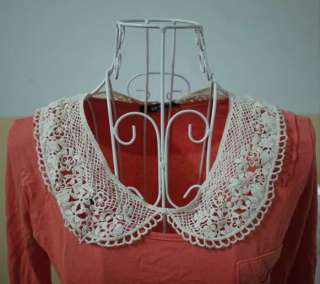 Women Creamy White Lace Flower Crochet Choker Wrap Shawl Necklace