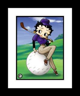 BETTY BOOP WITH GOLF BALL AND CLUB GOLFING FRAMED PRINT