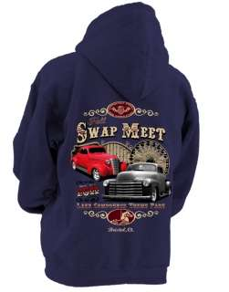 MEET HOT ROD RAT ROD 38 COUPE & CHEVY PICK UP NAVY HOODED SWEAT