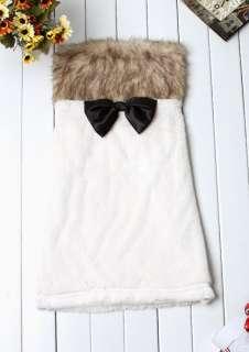 Girl Faux Fur Tube Black Bowknot Plush Mini Skirt Clubwear Dress Party