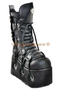 Womens Gothic Platform Calf High Cyber Goth Punk Boots Shoes