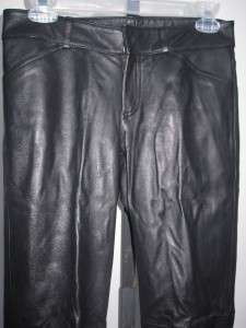 100% Auth THEORY Woman Black Leather Pant Sz 2 30 X 29