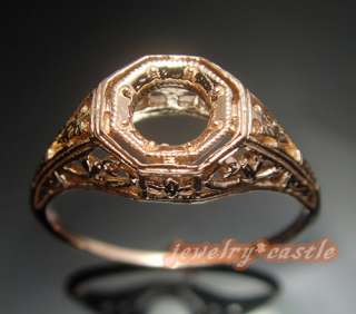 5MM ROUND 14K ROSE GOLD ANTIQUE SETTING MOUNT WHITE GOLD ART DECO