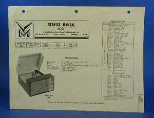 Voice of Music Service Manual Model 302 Record Player