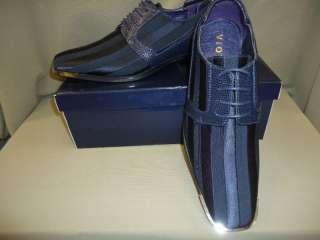 New Mens Navy Blue Silvertip Satin Fabric Dress Shoes