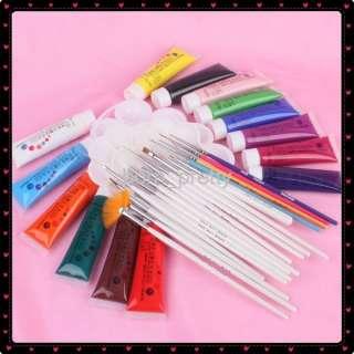 14 Acrylic Colors Nail Art Kit Set W/ Brush & Palette