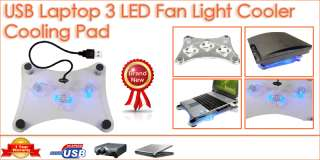 USB 2 Cooler Cooling Pad 3 Fans LED For Laptop Notebook