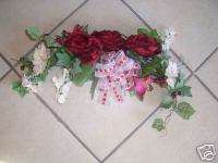 RED ROSE & DAISY SWAG VALENTINES DAY SPRING WREATH