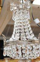 French Silver Plate Cut Glass Chandelier