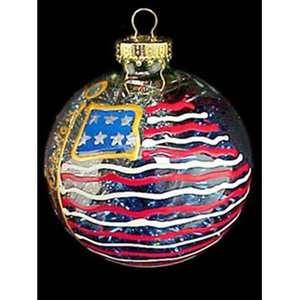 Flag Design Hand Painted Heavy Glass Ornament Christmas Decor