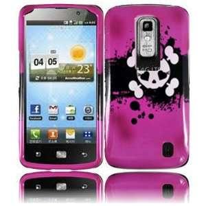 VMG LG Nitro HD Hard Design Case Cover   Pink White Skull Design Hard