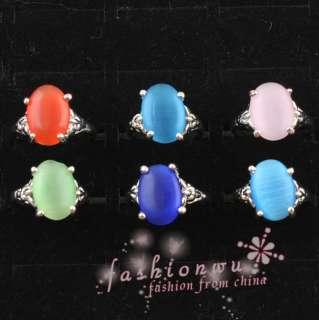Lot 30pcs New Design MIx Colors Big Ellipse Cat Eye Opal Ring
