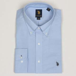US Polo Mens Solid Blue Dress Shirt