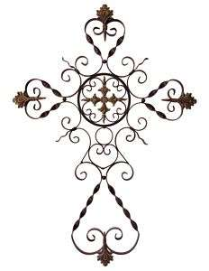 37 Large Wrought Iron Parigi Wall Cross   NEW