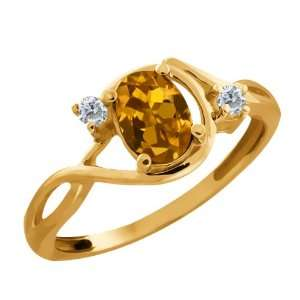 0.91 Ct Oval Orange Tourmaline and Diamond Gold Plated