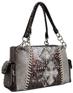 Western Tooled Gray Rhinestone Cross Handbag Purse