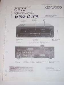 Kenwood Service Manual~GE A7 Graphic Equalizer