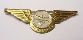 Continental Airlines Jr Hostess Gold Wings Pin Kinney Providence RI