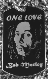 Legend Bob Marley   One Love Dog Tag Necklace