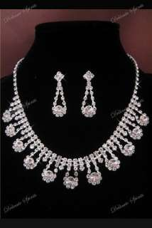 RHINESTONE BRIDAL PROM NECKLACE EARRINGS JEWELRY SET