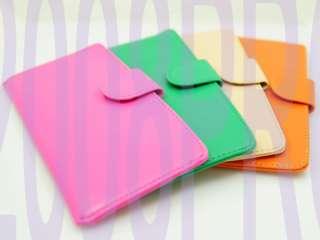 Leather like flat LONG PURSE WALLET CARD HOLDER thin Pink Orange Green